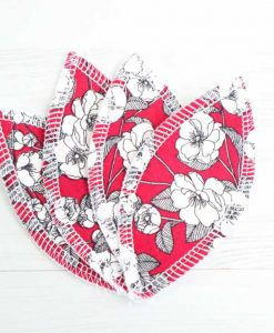 Flowers on Burgundy Interlabial pads - set of 4