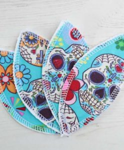 Day of the Dead Aqua Interlabial pads - set of 4
