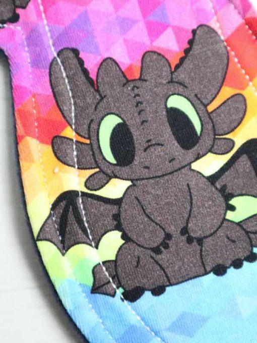 "11"" Regular Flow cloth pad | Rainbow Toothless Cotton Jersey | Blue Wind Pro Fleece | Luna Landings | Slim Sub"