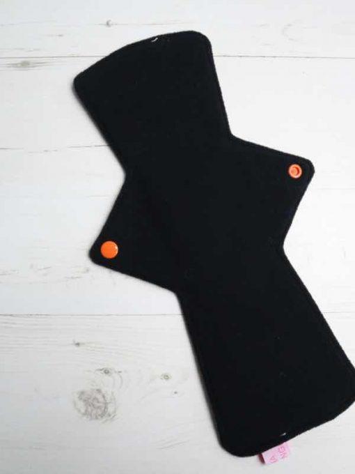 "12"" Overnight Extra Heavy Flow cloth pad | Crystal Dinosaurs Cotton Jersey | Black Wind Pro Fleece | Luna Landings | Double Flare"