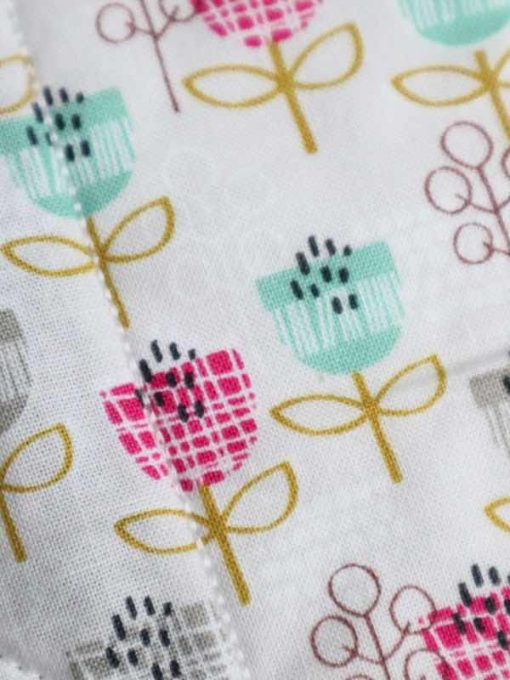 "12"" Regular Flow cloth pad | Petite Street Cotton | Grey Wind Pro Fleece | Luna Landings | Double Flare"
