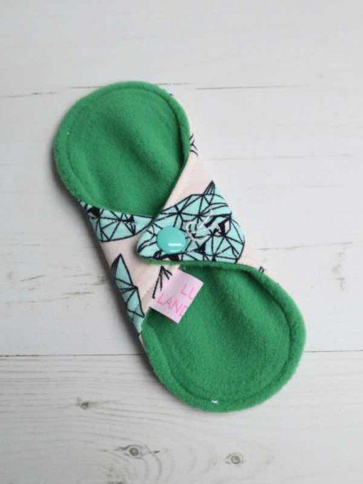 "6"" Regular Flow cloth pad   Crystal Cats Cotton Jersey   Green Wind Pro Fleece   Luna Landings   Sub"