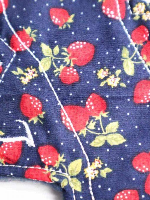 "6"" Regular Flow cloth pad   Navy Strawberry Cotton   Navy Polar Fleece   Luna Landings   Slim Sub"
