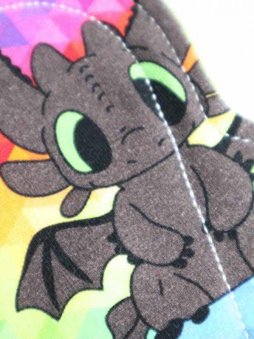 "6"" Regular Flow cloth pad | Rainbow Toothless Cotton Jersey | Green Wind Pro Fleece | Luna Landings | Sub"
