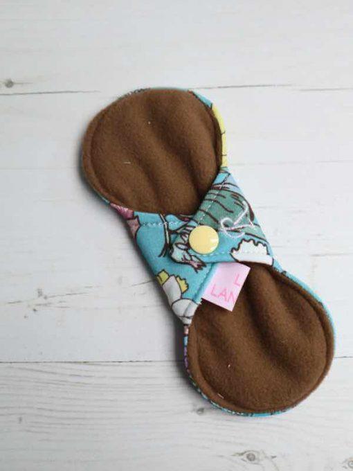"6"" Regular Flow cloth pad   Wild Flowers Cotton Jersey   Brown Wind Pro Fleece   Luna Landings   Slim Sub"