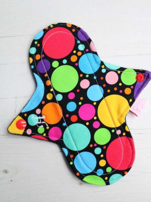 "8"" Heavy Flow cloth pad | Eco Dots Cotton Jersey | Black Wind Pro Fleece | Luna Landings | Sub"
