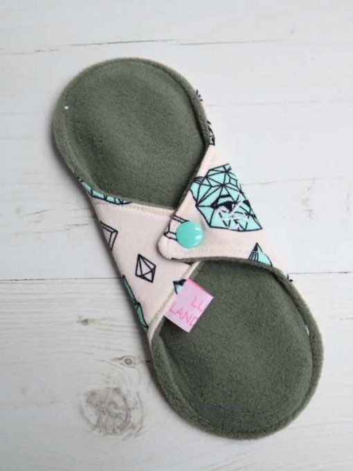 "8"" Regular Flow cloth pad | Crystal Cats Cotton Jersey | Green Wind Pro Fleece | Luna Landings | Sub"