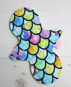 "8"" Regular Flow cloth pad | Dragon Scales Cotton Jersey | Mint Wind Pro Fleece | Luna Landings | Slim Sub"