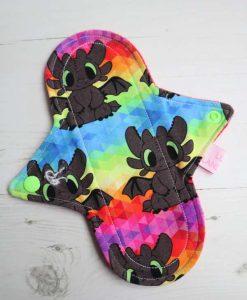 "8"" Regular Flow cloth pad | Rainbow Toothless Cotton Jersey | Red Wind Pro Fleece | Luna Landings | Sub"