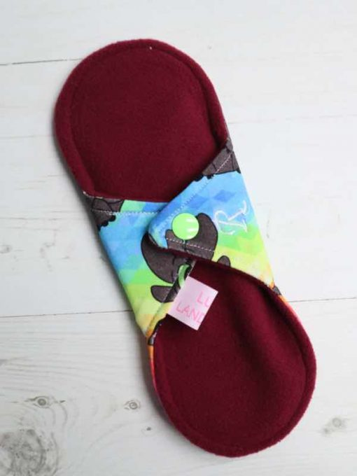 "8"" Regular Flow cloth pad | Rainbow Toothless Cotton Jersey | Wine Wind Pro Fleece | Luna Landings | Sub"