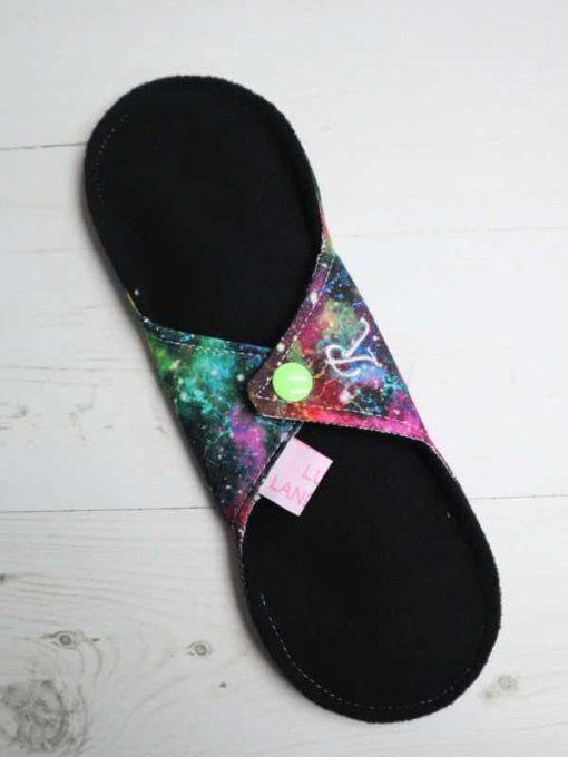 "8"" Regular Flow cloth pad | Speckled Galaxy Cotton | Black Soft Shell | Luna Landings | Sub"