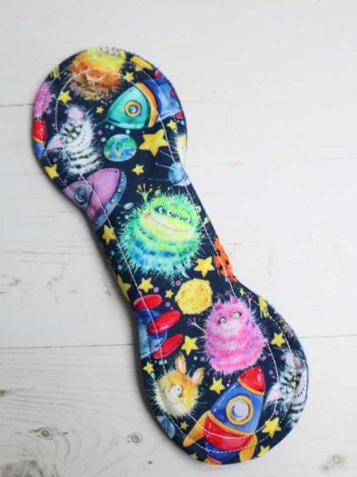 "9"" Light Flow cloth pad   Alien Space Cotton   Navy Polar Fleece   Luna Landings   Slim Sub"