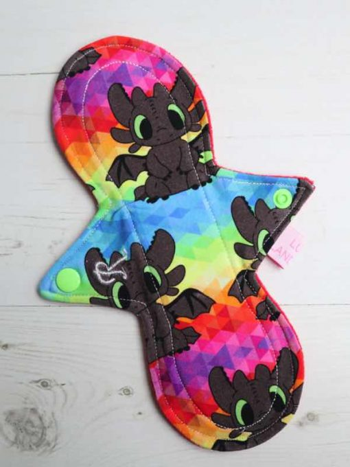 "9"" Regular Flow cloth pad | Rainbow Toothless Cotton Jersey | Red Wind Pro Fleece | Luna Landings | Slim Sub"