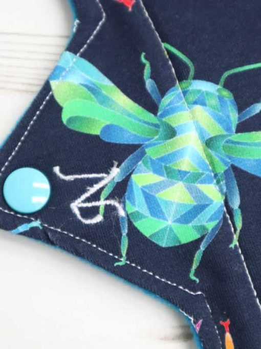 "14"" Overnight Extra Heavy Flow cloth pad | Beeometry Cotton Jersey | Blue Wind Pro Fleece | Luna Landings | Double Flare"