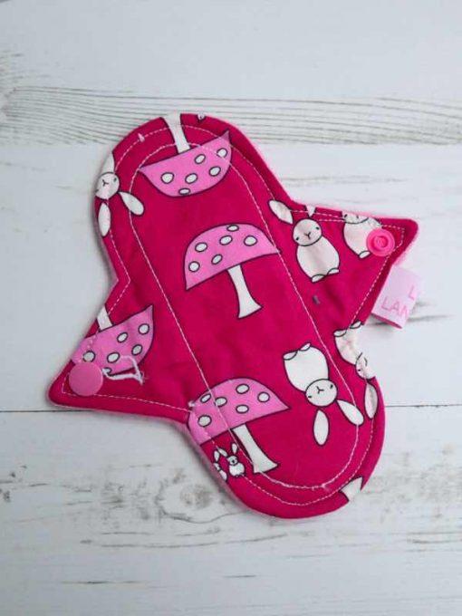 "6"" Light Flow cloth pad   Bunnies on Cerise Cotton   Pink Polar Fleece   Luna Landings   Sub"