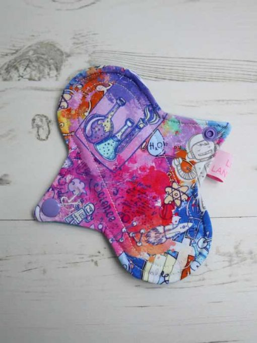 "6"" Regular Flow cloth pad   Bright Science Cotton Jersey   Blue Soft Shell   Luna Landings   Sub"