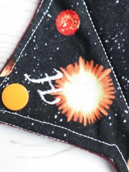 "10"" Heavy Flow cloth pad | Planets Cotton | Wine Wind Pro Fleece | Luna Landings | Sub"