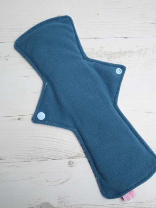 "12"" Overnight Extra Heavy Flow cloth pad   Shiny Penny Glitter Cotton Jersey   Blue Ash Wind Pro Fleece   Luna Landings   Double Flare"