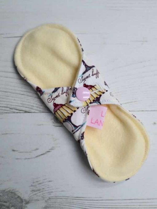 "6"" Light Flow cloth pad | Cake Galore Cotton | Lemon Polar Fleece | Luna Landings | Sub"