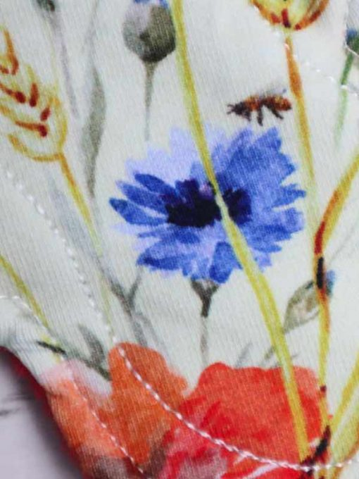 "6"" Light Flow cloth pad | Meadow Cotton Jersey | Red Polar Fleece | Luna Landings | Slim Sub"