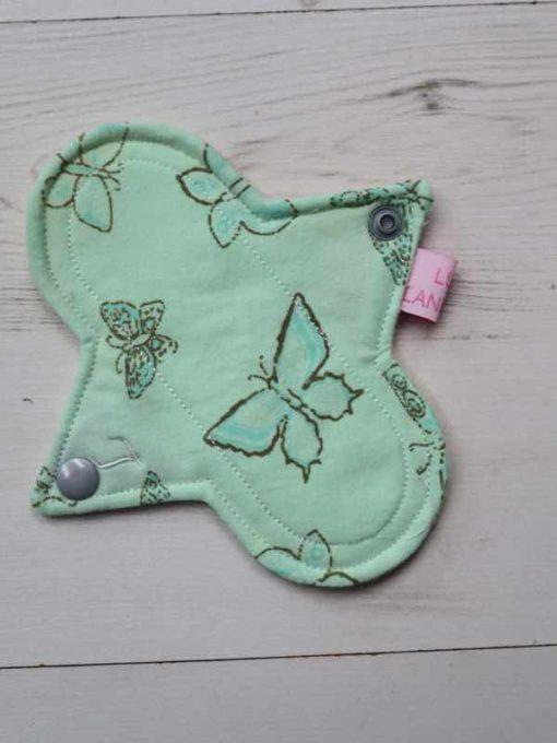 "6"" Light Flow cloth pad | Mint Butterflies Cotton Jersey | Lemon Polar Fleece | Luna Landings | Sub"