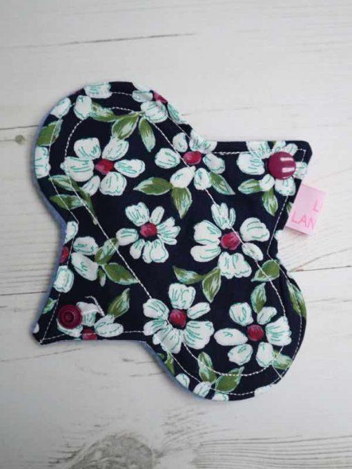 "6"" Light Flow cloth pad | Navy Flowers Cotton | Blue Polar Fleece | Luna Landings | Sub"
