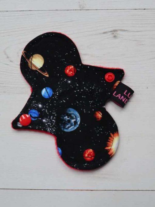 "6"" Light Flow cloth pad | Planets Cotton | Red Polar Fleece | Luna Landings | Slim Sub"