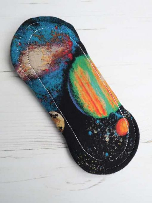 "6"" Regular Flow cloth pad   Planets Cotton Jersey   Black Wind Pro Fleece   Luna Landings   Sub"
