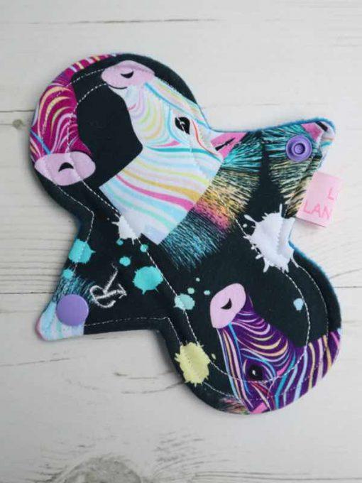 "6"" Regular Flow cloth pad | Rainbow Zebras Cotton Jersey | Blue Wind Pro Fleece | Luna Landings | Slim Sub"