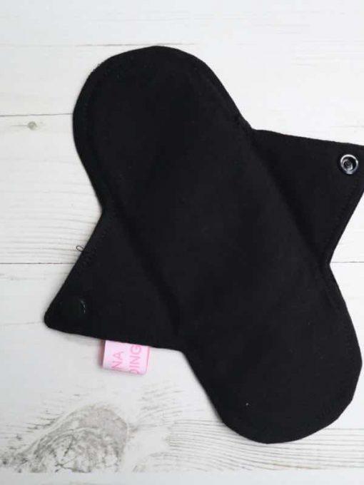 "8"" Light Flow cloth pad   Black Cotton Jersey   Black Black Cotton Jersey   Luna Landings SupaThin   Sub"