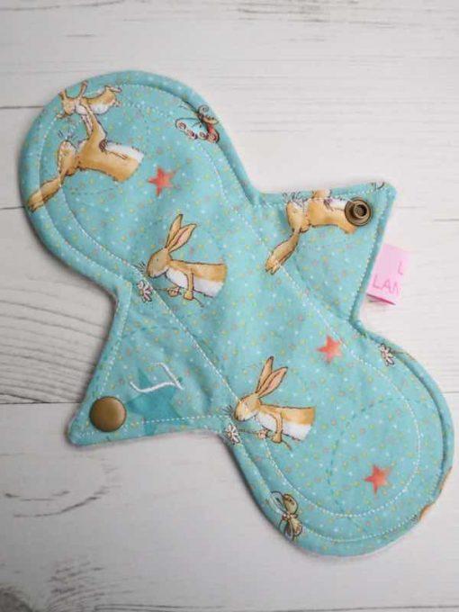 "8"" Light Flow cloth pad   Bunny Love Cotton   Cream Polar Fleece   Luna Landings   Slim Sub"
