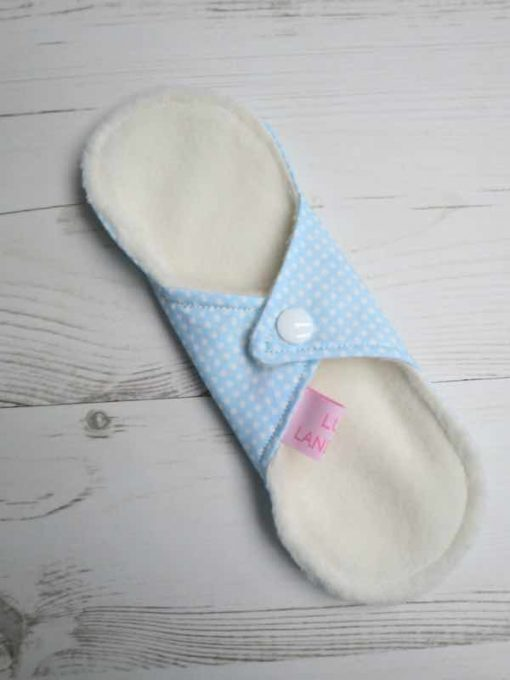 "8"" Liner cloth pad | Dotty Blue Cotton | Cream Polar Fleece | Luna Landings | Sub"
