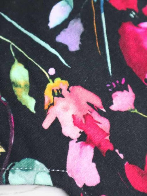 "8"" Liner cloth pad   Midnight Meadow Cotton Jersey   Black Organic Cotton Fleece   Luna Landings   Sub"