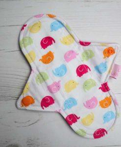 "8"" Liner cloth pad | Rainbow Elephant Cotton | Lilac Polar Fleece | Luna Landings | Sub"