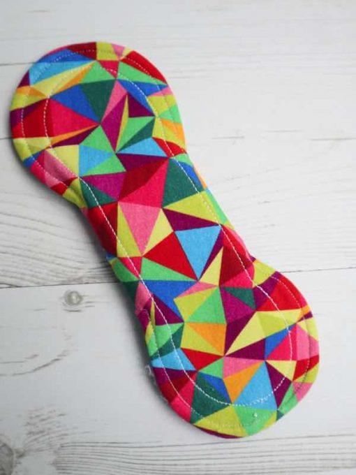 "8"" Regular Flow cloth pad | Kaleidescope Cotton Jersey | Blue Wind Pro Fleece | Luna Landings | Slim Sub"