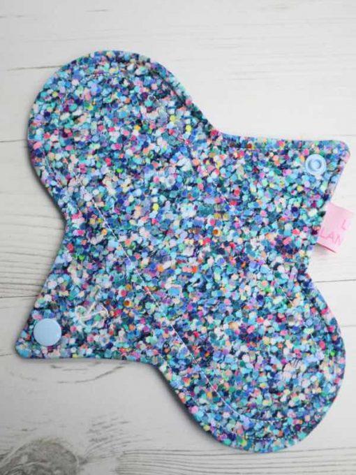 "8"" Regular Flow cloth pad   Shiny Penny Glitter Cotton Jersey   Blue Ash Wind Pro Fleece   Luna Landings   Sub"