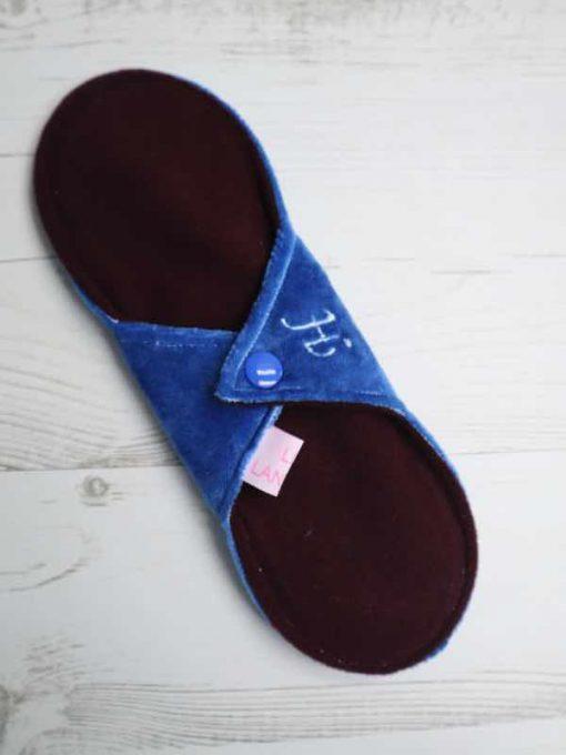 "9"" Heavy Flow cloth pad | Blue Bamboo Velour | Wine Wind Pro Fleece | Luna Landings | Sub"
