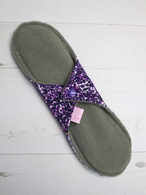 """10"""" Heavy Flow cloth pad   Purple Green Glitter Cotton Jersey   Green Wind Pro Fleece   Luna Landings   Sub"""