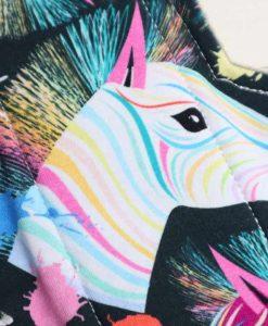 "10"" Heavy Flow cloth pad | Rainbow Zebras Cotton Jersey | Olive Wind Pro Fleece | Luna Landings | Sub"