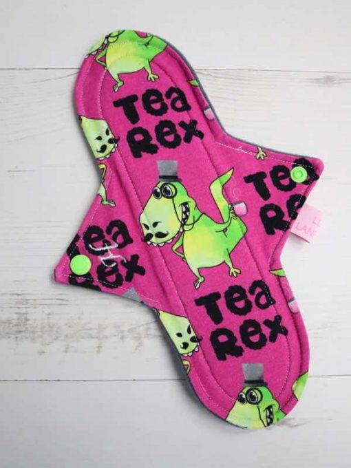 "10"" Heavy Flow cloth pad | T Rex Cotton Jersey | Grey Wind Pro Fleece | Luna Landings | Sub"