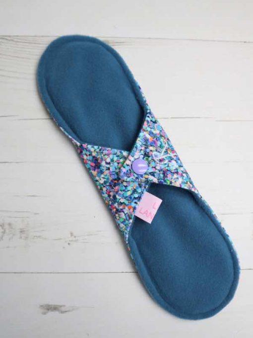 "10"" Regular Flow cloth pad | Shiny Penny Glitter Cotton Jersey | Blue Ash Wind Pro Fleece | Luna Landings | Sub"