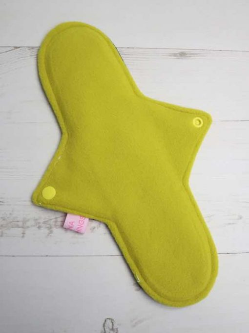 "11"" Heavy Flow cloth pad | Electric Skies Cotton Jersey | Yellow Wind Pro Fleece | Luna Landings | Sub"