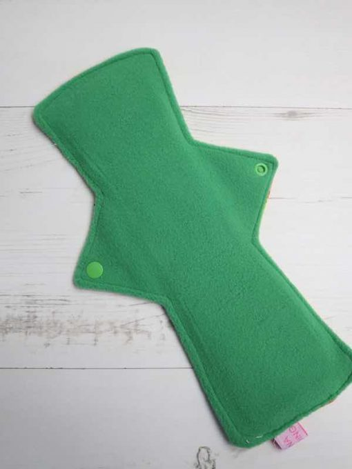 "12"" Overnight Extra Heavy Flow cloth pad | Indian Elephants Cotton | Green Wind Pro Fleece | Luna Landings | Double Flare"