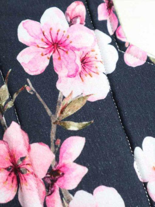 "14"" Overnight Extra Heavy Flow cloth pad | Pink Flowers Cotton Jersey | Olive Wind Pro Fleece | Luna Landings | Double Flare"