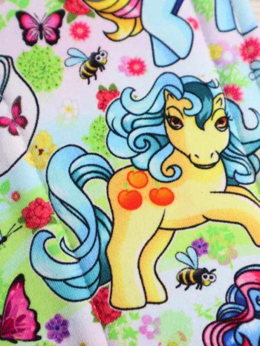 "14"" Overnight Extra Heavy Flow cloth pad   Vintage Ponies Cotton Jersey   Grey Wind Pro Fleece   Luna Landings   Double Flare"