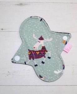 "6"" Light Flow cloth pad | Moose Cotton Jersey | Black Polar Fleece | Luna Landings | Sub"