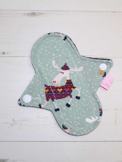 "6"" Light Flow cloth pad   Moose Cotton Jersey   Black Polar Fleece   Luna Landings   Sub"