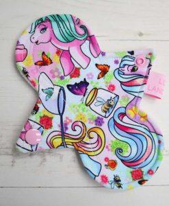 "6"" Light Flow cloth pad | Vintage Ponies Cotton Jersey | White Soft Shell | Luna Landings | Slim Sub"