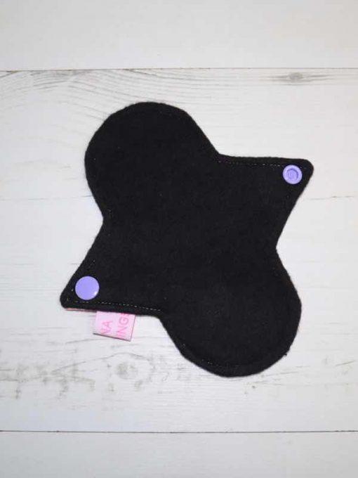 "6"" Regular Flow cloth pad | Dreamy Scales Cotton Jersey | Black Organic Cotton Fleece | Luna Landings | Sub"