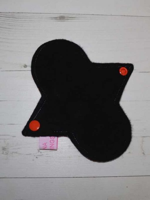 "6"" Regular Flow cloth pad   Pokeballs Cotton Jersey   Black Organic Cotton Fleece   Luna Landings   Sub"